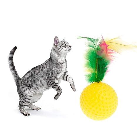 Lazder - Juguete Interactivo para Gatos, Bola con Plumas para Gatos