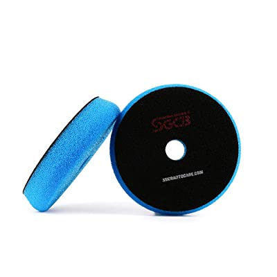 "SGCB Pro 5"" RO/DA Polishing Pad, Medium Light Cutting Flat Car Foam Buffing Pad Breathable Hook & Loop Finishing Sponge Pad for Second Polish Moderate Scratch Oxidation Defect Removal, Blue: Automotive"