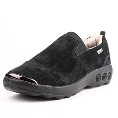 a0b60e34af2 Therafit Samantha Women s Suede Slip On Casual Shoe - for Plantar Fasciitis  Foot Pain Black