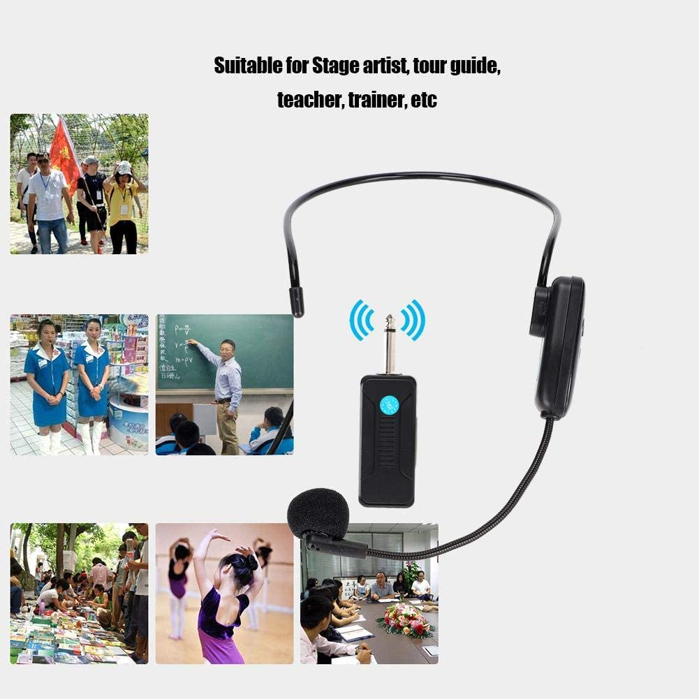 Tangxi Funkmikrofon-Headset 1 bis 2 professionelle Kopfh/örer-Mikrofone UHF-Funkmikrofon mit Empf/änger f/ür Sprachverst/ärker//Computer