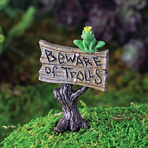 Frog Garden Sign (Fiddlehead Fairy Village Frog on Beware of Trolls Sign with Bonus Novelty Fairies Bill and 3