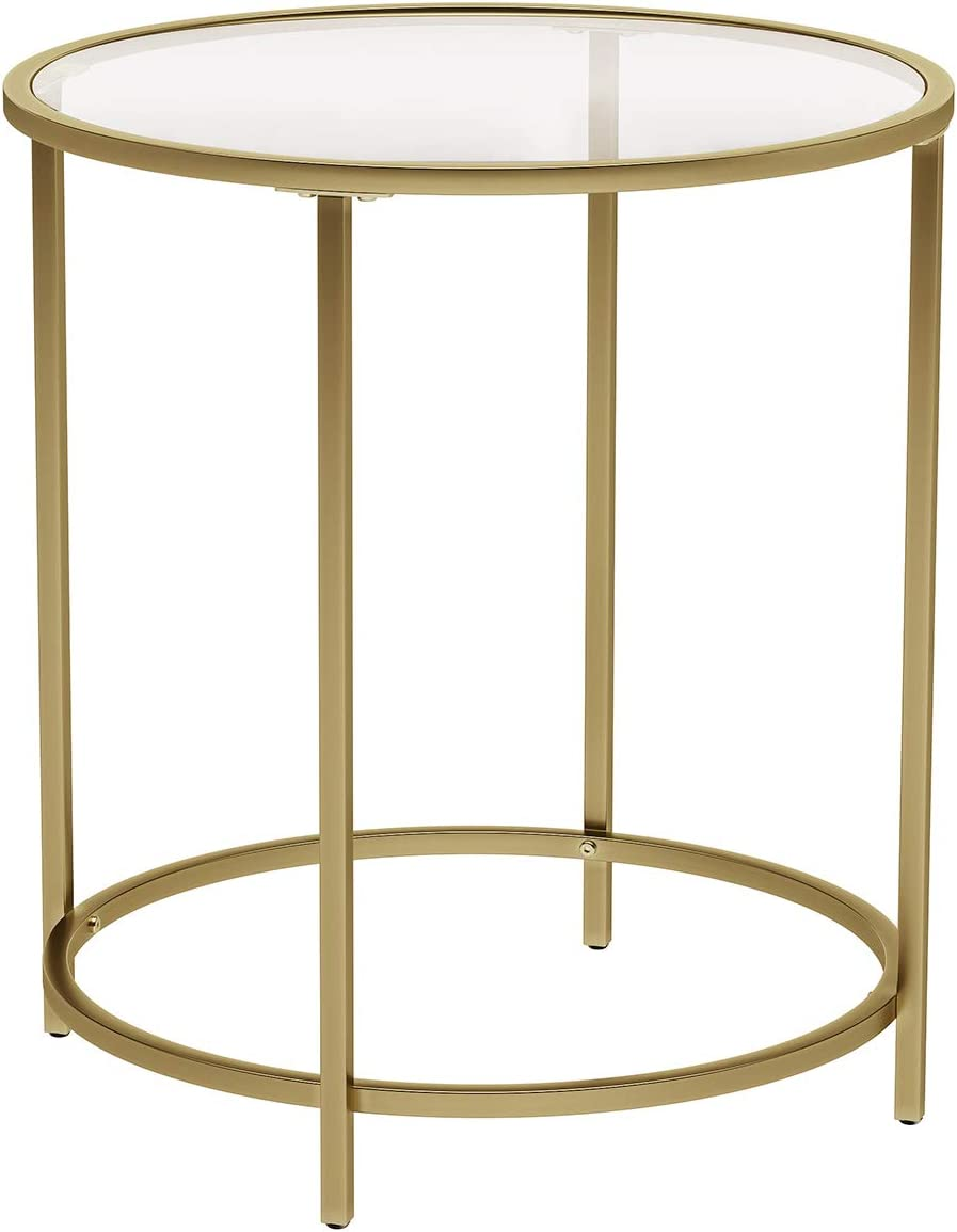 Amazon Com Vasagle Round Side Table Tempered Glass End Table With Golden Metal Frame Small Coffee Table Bedside Table Living Room Balcony Robust And Stable Decorative Gold Ulgt20g Kitchen Dining