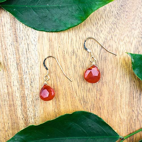 Labradorite crystal teardrop dangle earrings in 14k gold fill ()