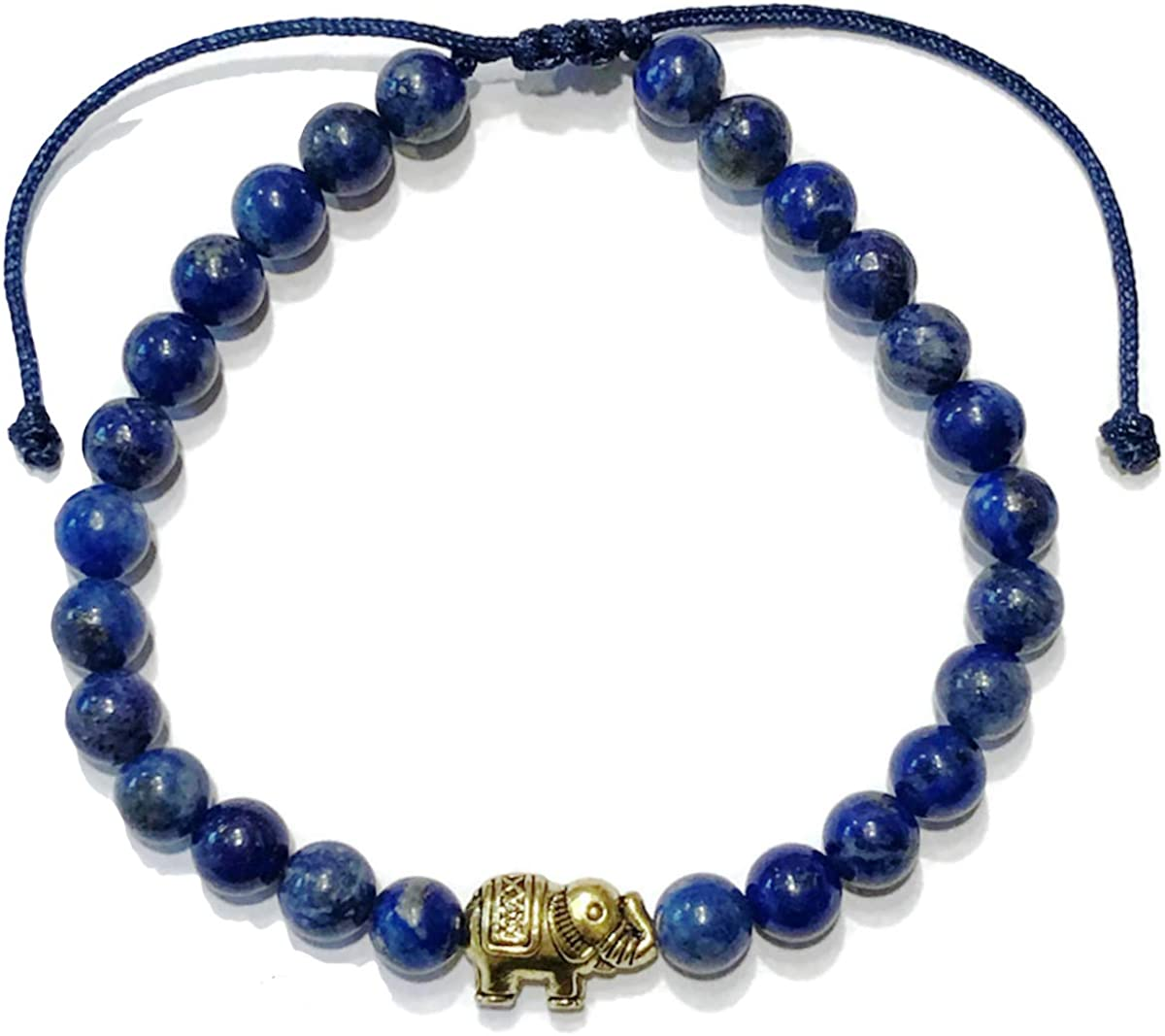 Tiny Treasures Love Charm Dark Blue Jade Adjustable Reiki Meditation Lucky Knot Bracelet Love Bracelet