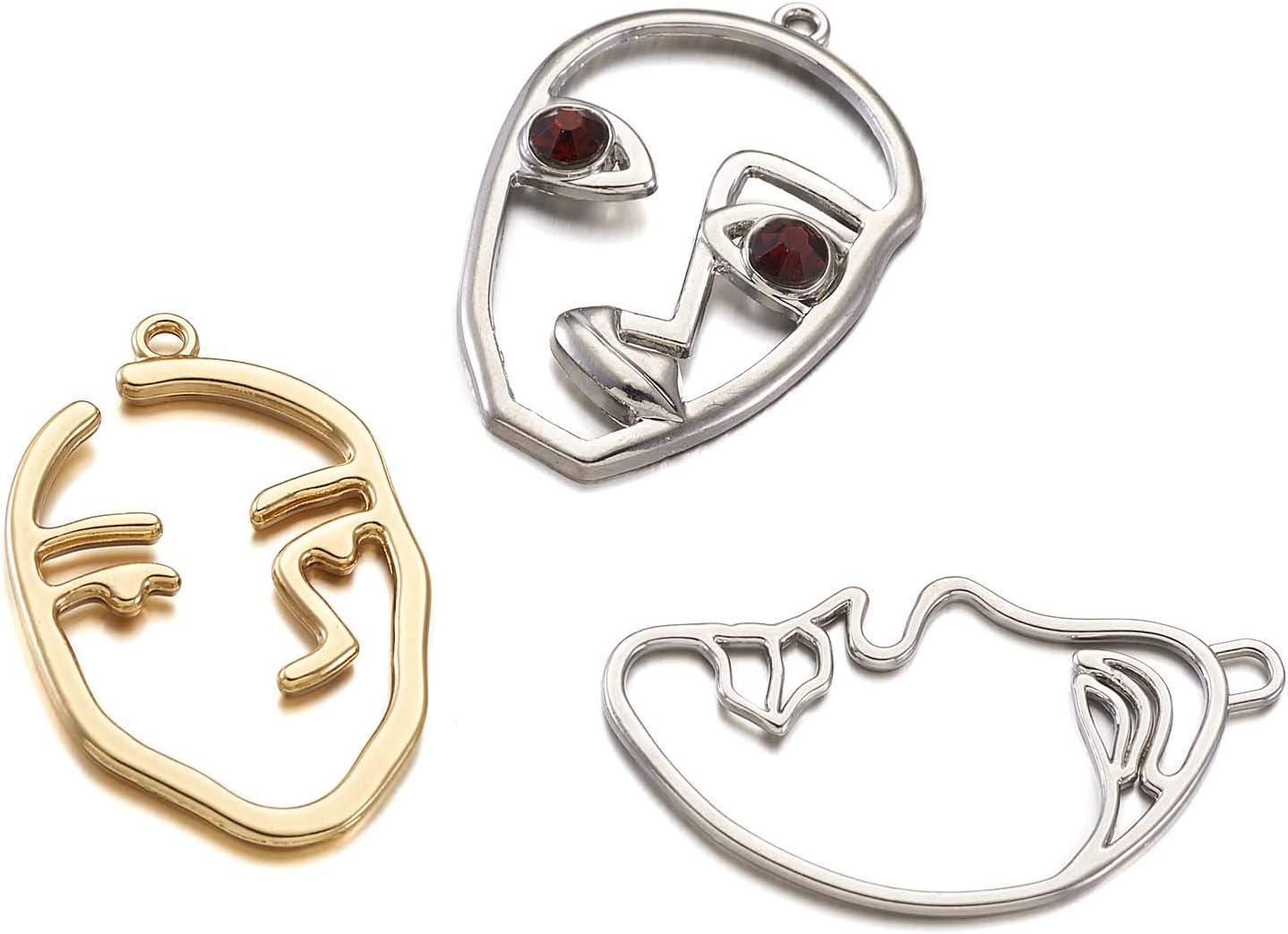 Craftdady Lot de 24 boucles doreilles abstraites avec pendentif en forme de visage creux pour la fabrication de bijoux platine et dor/é