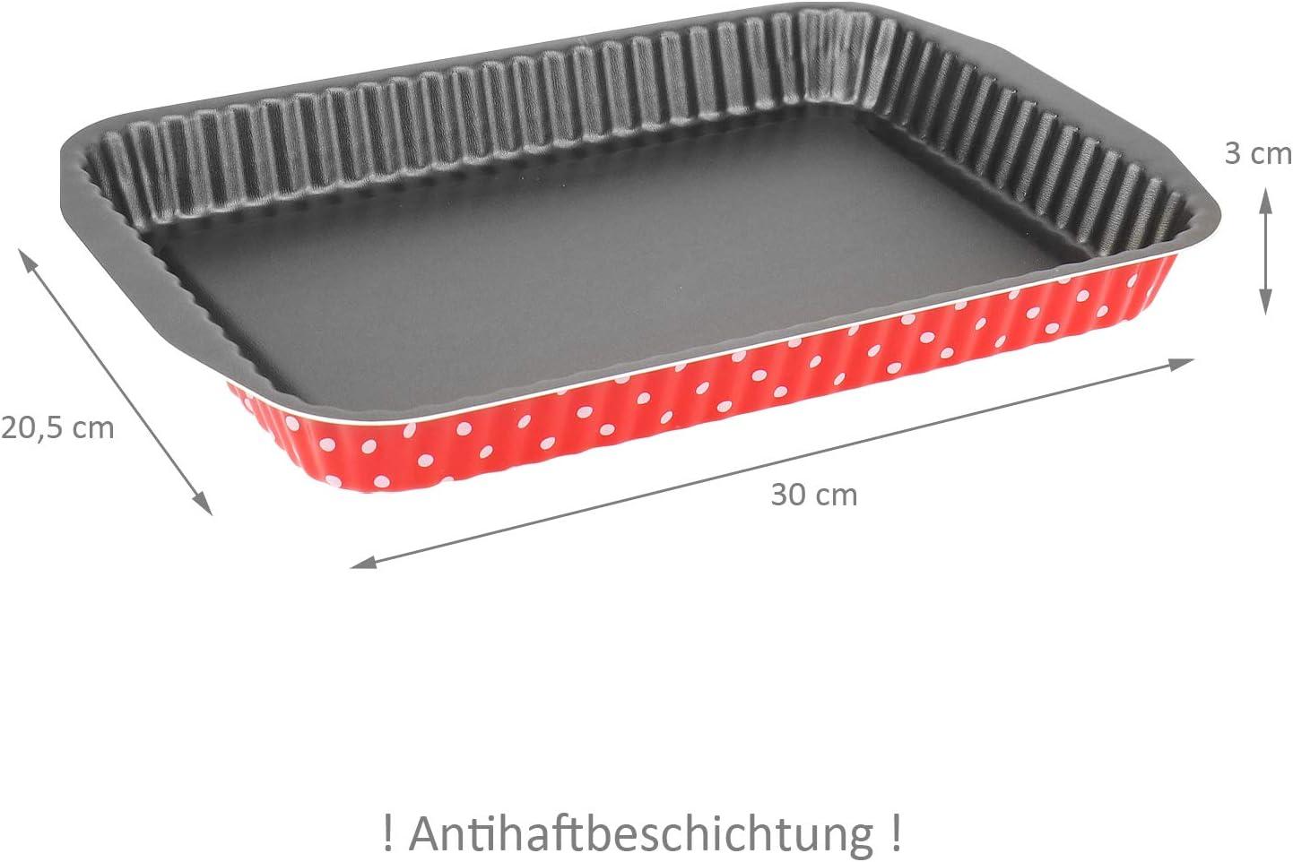 WELLGRO Backformen Set 3-tlg - Backform rund Antihaftbeschichtung Tarteform /& Backform eckig Rot gepunktet