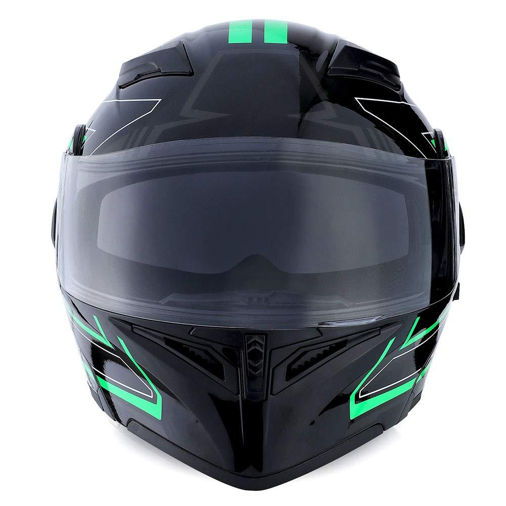 1Storm Motorcycle Modular Full Face Helmet Flip up Dual Visor Sun Shield HB89 Matt Black; Size L 22.4-22.8 Inch