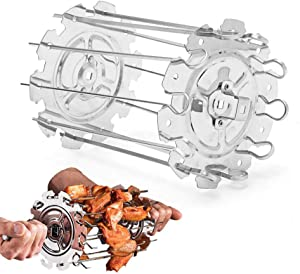 SUPARO BBQ Grill Cage Roaster Rotisserie, Stainless Steel Skewers Needle Cage Kebab Maker Grill with 10 Skewers, Rotating Meat Forks Grill Cage Kit