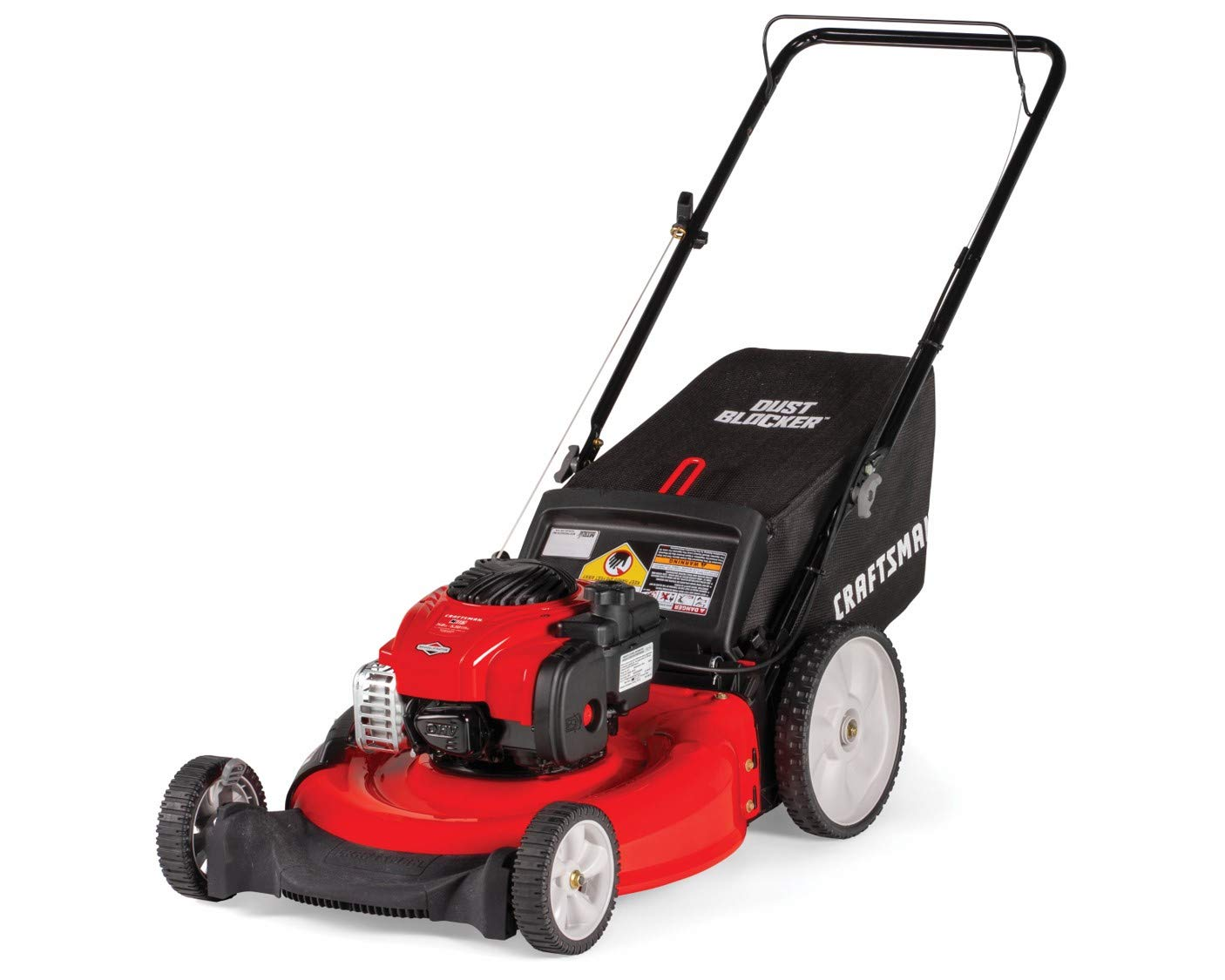 Craftsman M115 11A-B25W791 Push Lawn Mower, Red 1 140CC OHV GAS POWERED ENGINE: Powerful Briggs and Stratton 550E gas engine comes equipped with recoil and primer. 3-IN-1 CAPABILITIES: Unit has side discharge, rear discharge, and mulching capabilities. 21-INCH CUTTING DECK: Efficient cutting deck helps trim grass in one quick pass for an easier yard job.
