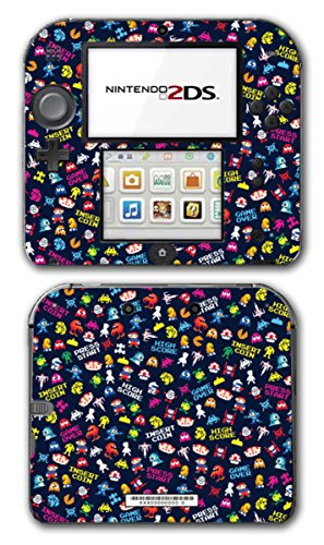 Retro Video Game Pixel Art Mega Man Bubble Bobble Galaga Game Over Insert Coin Mario Video Game Vinyl Decal Skin Sticker Cover for Nintendo 2DS System Console