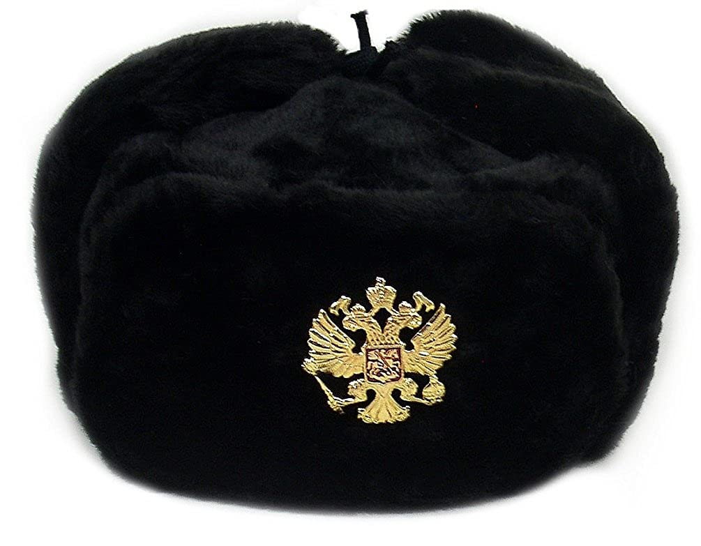 Russian Military Army Winter Hat Ushanka *BLACK-L* w/Imperial Eagle Crest Badge 003