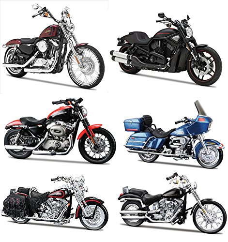 NEW 1:18 MAISTO MOTORCYCLES HARLEY DAVIDSON COLLECTION - CUSTOM MOTORCYCLES SERIES 31 ASSORTMENT SET OF 6pcs Diecast Model Car By (18 Diecast Harley Davidson Motorcycle)