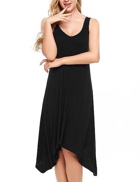 231cebaa37 Sweetnight Womens Sleeveless Nightgowns V Neck Sleepwear Nightwear Modal  Soft Sleep Dress Maternity Dress (Black