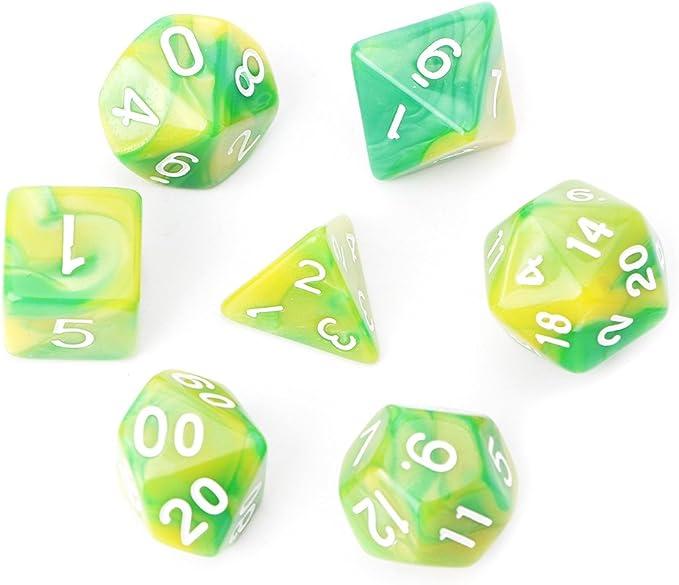 Richi - Juego de dados poliédricos para juego de mesa TRPG Calabozos y Dragones (7 unidades), D4-D20, Verde: Amazon.es: Deportes y aire libre