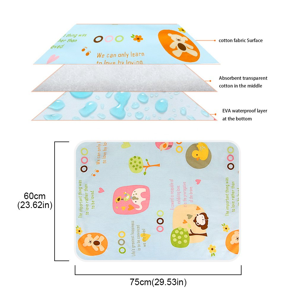OOCOME Baby Pad Urine Pad Bed Pad 100% Pure Cotton Waterproof Washable Environmental Protection Pad Baby Stroller Children Adults with Incontinence (S)
