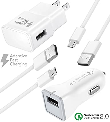 Wall Charger and 4 feet Micro-USB Cable White and More Huawei Honor Lite 10 Truwire Adaptive Fast Charger Set for Samsung Galaxy S7 S6 S7 Edge Note 4 S6 Edge Note 5 Moto G5