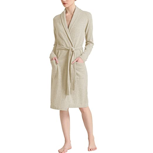 2d44f72565 Parisbonbon Women s 100% Cashmere Shawl Collar Robes Color Beige Size 5XS