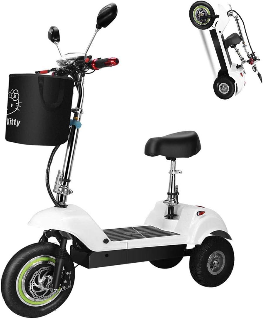 Triciclo eléctrico adulto,150 kg Carga máxima,Movilidad eléctrica de Triciclo Plegable y portátil Ciclomotor eléctrico con 3 ruedas,,batería de Litio 350W 36V 10AH con luz LED y Pantalla HD,Blanco