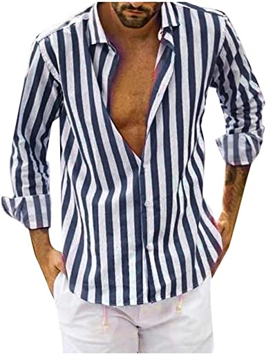 Luckycat Camisa de Oficina para Hombre Regular Fit Solid a Raya Camisa Transpirable para Trabajar de Manga Larga Hombre Caballero Trabajo Fiesta Verano: Amazon.es: Ropa y accesorios