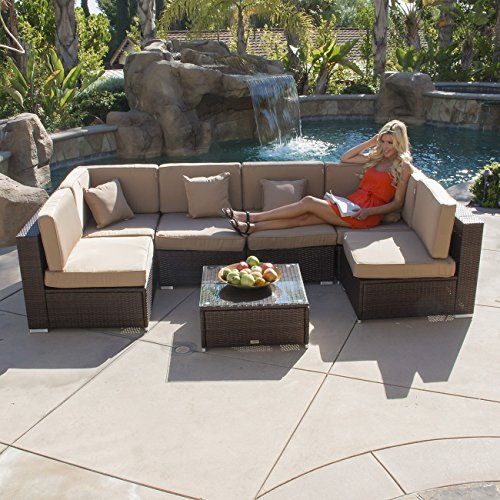 Belleze 7pcs Outdoor Patio Aluminum Furniture Rattan Wicker Sectional Sofa Chair Couch Table Set