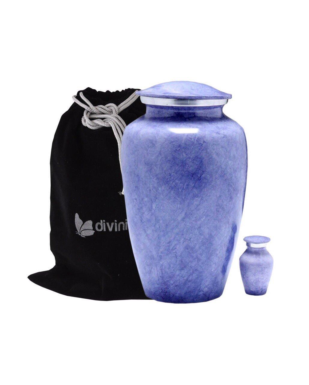Lavender Marble Cremation Urn - Violet Urn - Lavender Urn - Affordable Handcrafted Adult Funeral Urn for Ashes - Large Urn with Keepsake and Velvet Bag