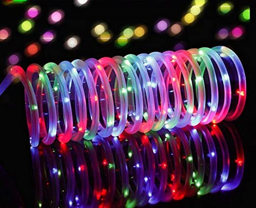NEW ROPE SOLAR LIGHTS 100 LED COLOUR BRIGHT WHITE LIGHTS GARDEN DÉCOR WATERPROOF