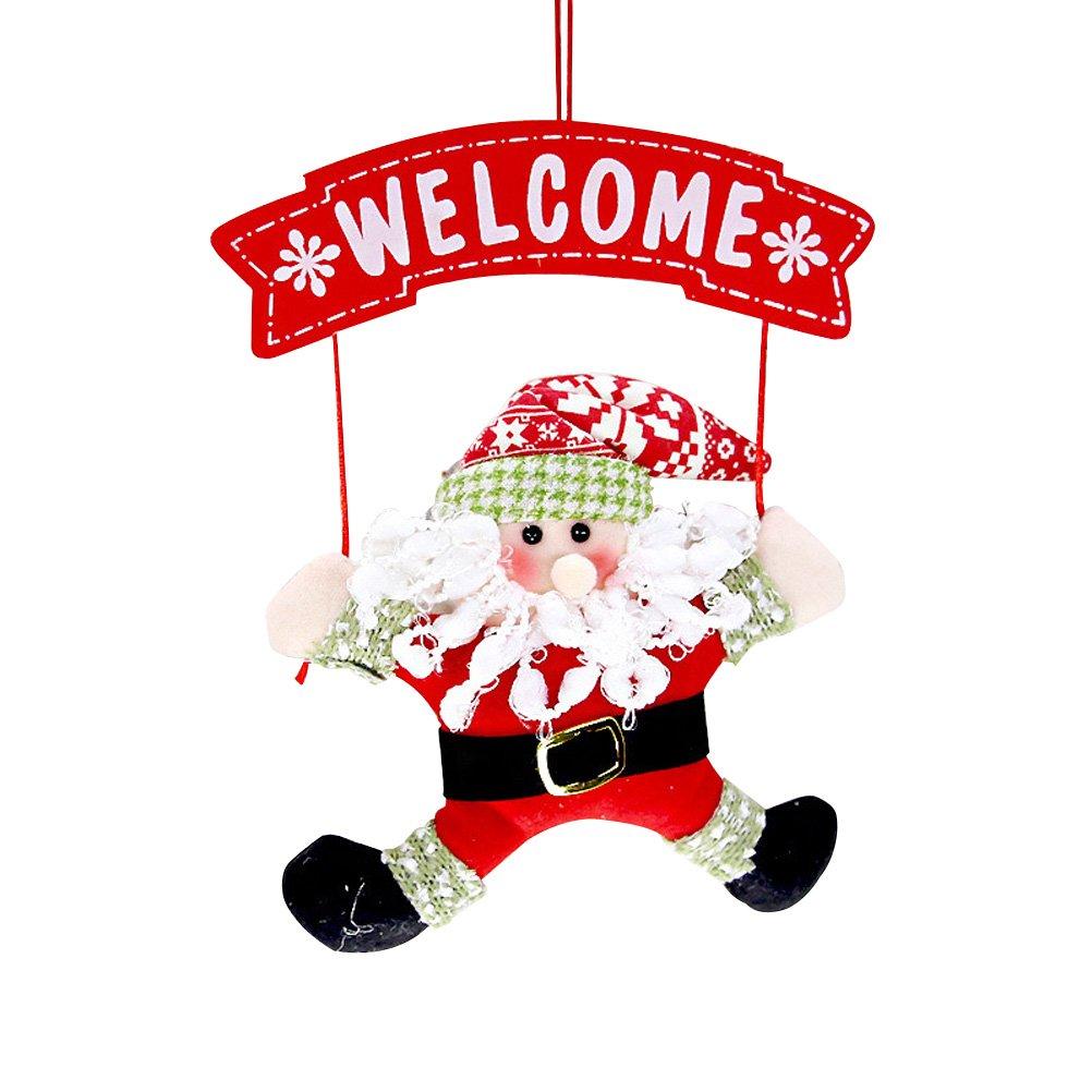 OULII Deco Noel Père Noel Suspension Noel Couronne de Porte Noel Panneau Welcome Bienvenue