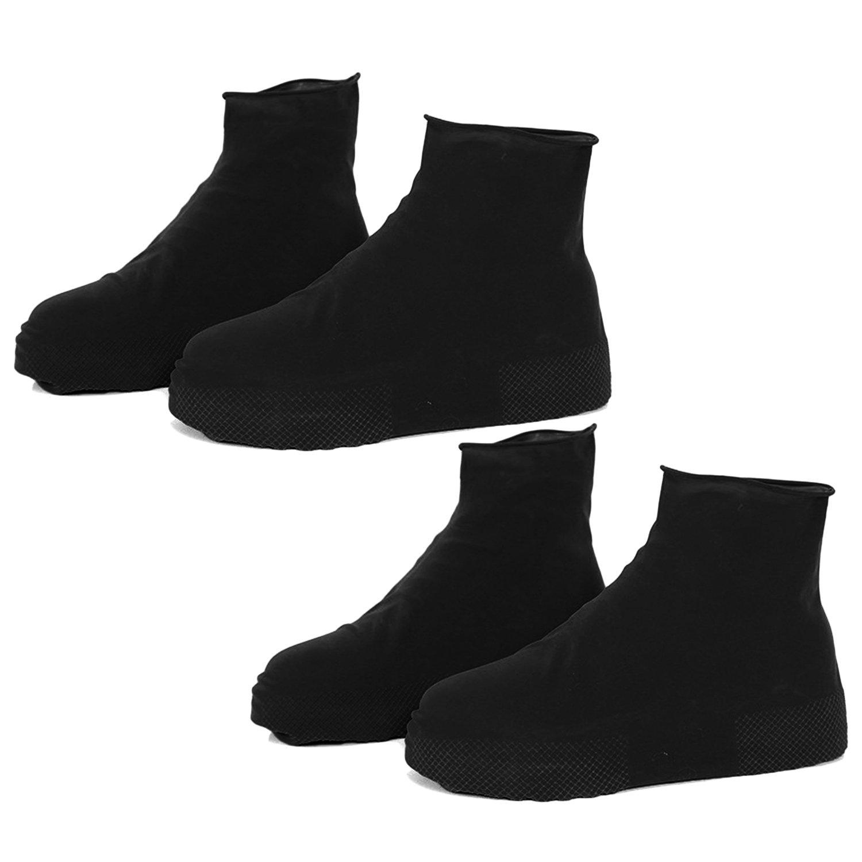 Couvre Chaussures, 2 paires Réutilisable Imperméable à l'eau Anti-dérapante de Latex de Chaussures de Protection de la Neige de Pluie Couvre-chaussures pour Hommes Femmes Taille Noire L Gosear