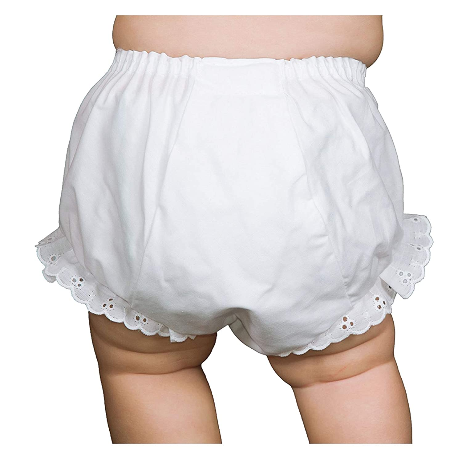 Collections Baby Girls White Double Seat Diaper Cover Bloomers 000160-WH I.C