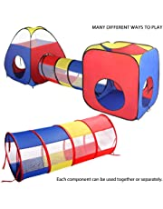 EocuSun Kids Play Tent, 4 in 1 Pop Up Tent Toddlers Crawl Tunnel Playhouse Ball Pit Folding Tent with Zipper Storage Bag Babies Toy Gifts for Children Girls Boys Indoor and Outdoor Use
