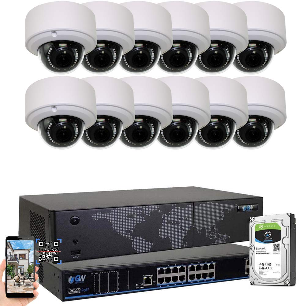 GW Security 16CH 4K NVR H.265 8MP IP Security Camera System – 12 x UltraHD 4K 8.0 Megapixel 2.8 12mm Varifocal Zoom PoE IP Dome Camera 4TB Hard Drive – Support ONVIF Quick QR Code Remote Access