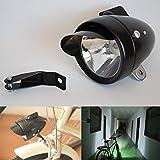 GOODKSSOP Black Chrome Metal Shell Bright Classical Cool Bicycle Headlight Retro Vintage Bike LED Light Night Riding…