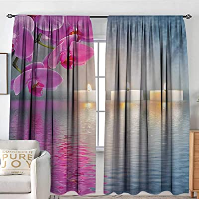 "NUOMANAN Decor Waterproof Window Curtain Zen,Japanese Candle Relaxing Environment Cherry Blossoms Asian Inspirations Image,Lavander Pink Blue,Darkening and Thermal Insulating Draperies 54""x84"": Home & Kitchen"
