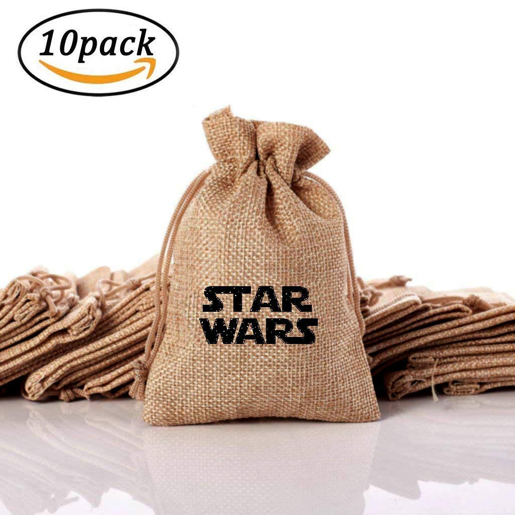 YB-EU Excellent Star Wars Theme Cute Present Bags, Vintage Jute Gift Bags for Jewelry, Lovely Gifts, Wedding Party Favors, Handy Music Box. Gift Bags with Drawstring(10Pcs)