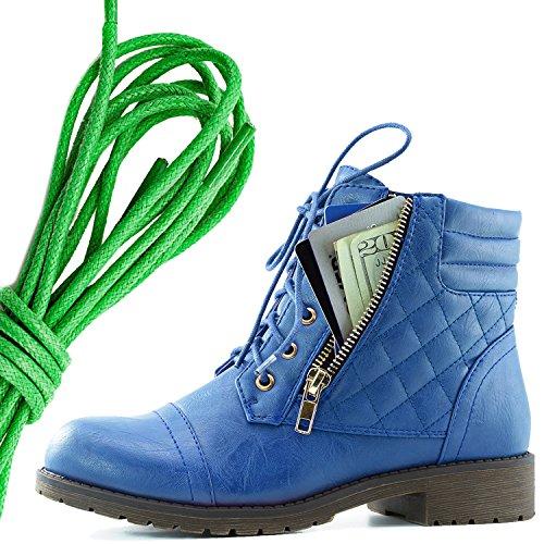 Dailyshoes Kvinna Militär Snörning Spänne Bekämpa Stövlar Fotled Hög Exklusiva Kreditkortsficka, Grön Blå Pu