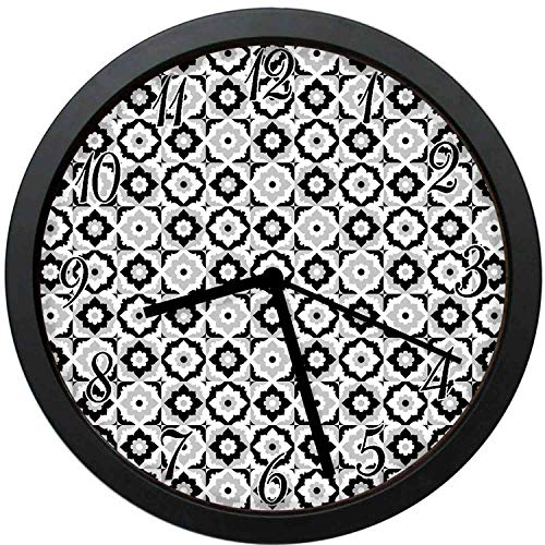 YiiHaanBuy Quatrefoil Decorative Wall Clock,Black and White Ceramic Tile with Floral Ornaments Retro Daisies-12inch no Ticking,Suitable for Every Room
