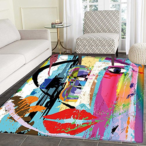 Theme Face Paint (Art Floor Mat Pattern Contemporary Paint Strokes Splashes Face Mask Paint Kiss Graffiti Grunge Creative Theme Living Dinning Room & Bedroom Mats 5'x6' Multicolor)