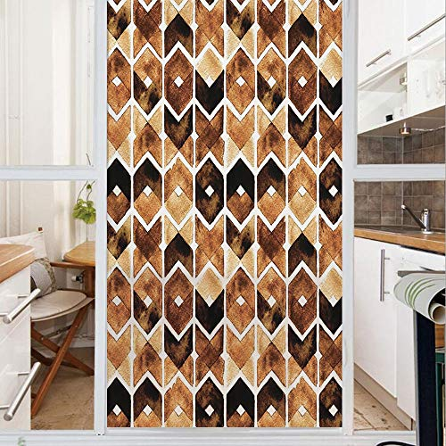 Decorative Window Film,No Glue Frosted Privacy Film,Stained Glass Door Film,Chevron Geometric Motifs in Dark Coffee Colors Zigzag Tribal Decorative,for Home & Office,23.6In. by 47.2In Brown Caramel ()