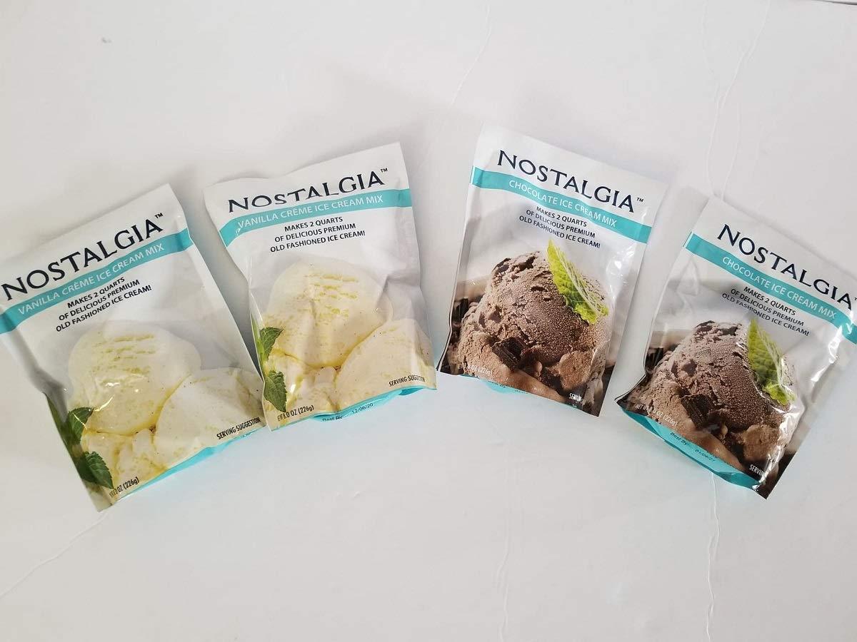 Nostalgia Ice Cream Mix. Set of 4 - 2 Vanilla and 2 Chocolate. Each Pocket of 8 Oz Makes 2 Quarts of Delicious Premium Old Fashioned Ice Cream!