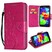 i-Dawn Premium Wallet Leather Flip Protective Case with Wristlet Lanyard and Kickstand for Samsung Galaxy S5/S5 Neo Rose