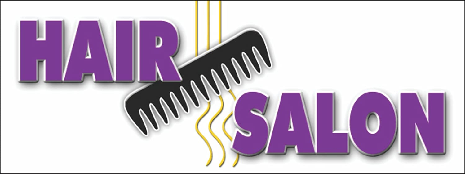 Amazon Com Hair Salon Vinyl Banner Sign Styling Beauty Cuts Signs 18 X 48 Office Products