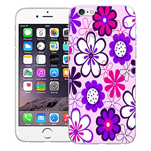"Mobile Case Mate iPhone 6 4.7"" Silicone Coque couverture case cover Pare-chocs + STYLET - Purple Daisy pattern (SILICON)"