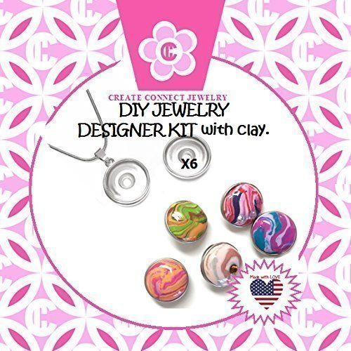 Girl's DIY Designer Jewelry Making Kit with Snap Charms & Clay from my Award Winning Studio by Create Connect Studio