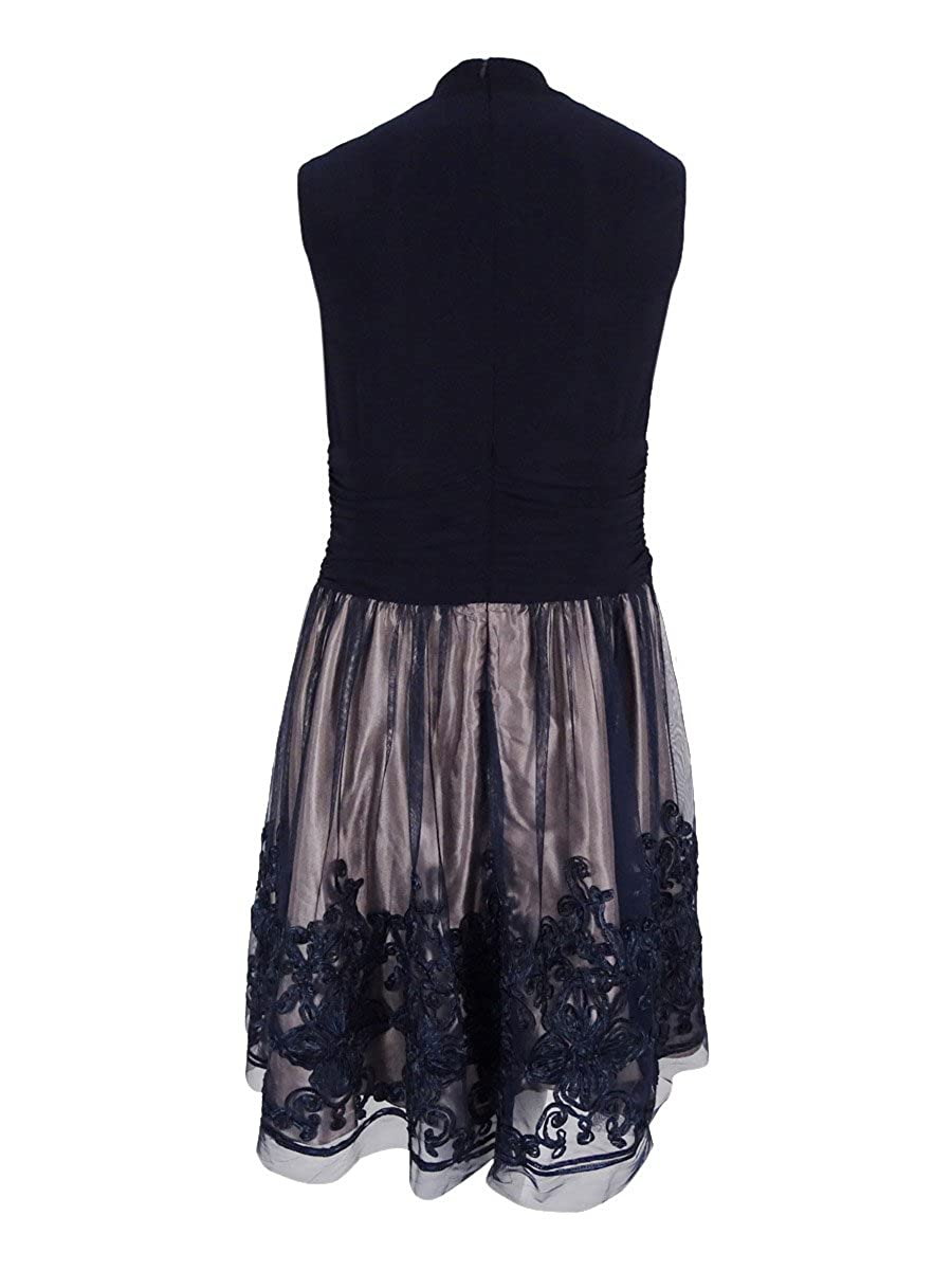 a696f699b1b SL Fashions Womens Plus Lace Sleeveless Cocktail Dress Navy 14W at Amazon  Women s Clothing store