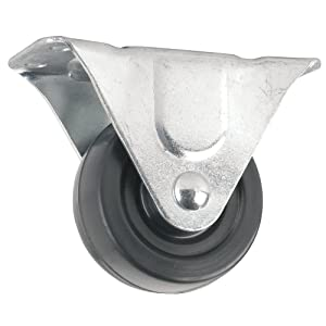 Heavy Duty Rubber Caster Wheel with Rigid Non-Swivel Top Plate- 3-Inch -225 lb. Load Capacity