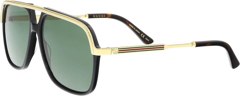 Gucci GG0200S 001 Gafas de sol, Negro (1/Green), 57 Unisex Adulto