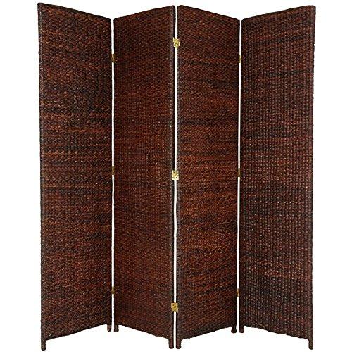 Japanese Shoji Doors - Oriental Furniture Solid, Substantial Opaque Screen, 6-Feet Tall Rush Grass Woven Room Divider, 4 Panel, Dark Brown