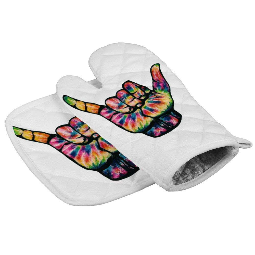 LijiahuaMitts Hang Loose Tie Dye Heat Resistant Oven Mitts and Pot Holders,Safe Kitchen Cooking Baking Grilling