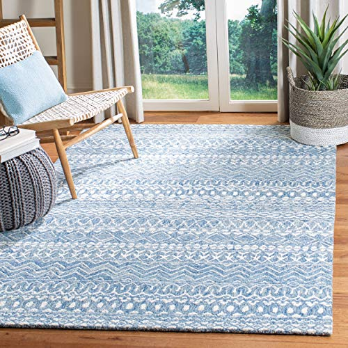 Safavieh MLP502M-9 Micro-Loop Collection MLP502M Blue and Ivory Premium Wool (9' x 12') Area Rug,