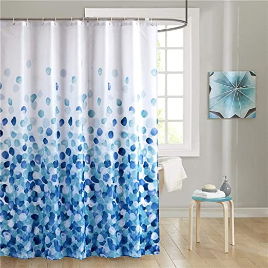 Blue White Shower Curtain Polyester Fabric Waterproof with Hooks Fast Shipping